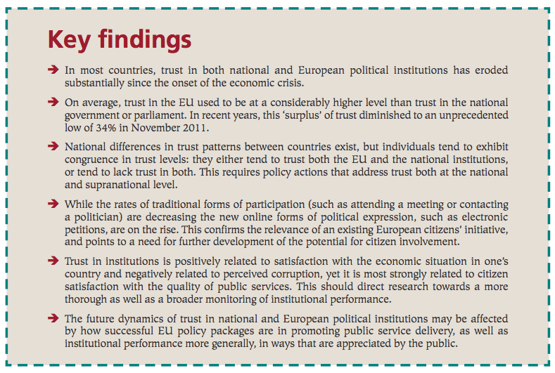 Key findings on trust in Europe